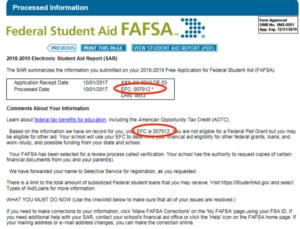 Example FAFSA SAR